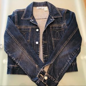 DENIM JEAN JACKET WITH DARK BROWN STITCHING